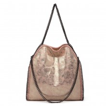 S1760 - Miss Lulu Metallic Effect Chain Tote Bag - Pink