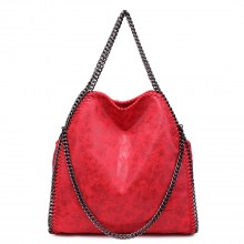 S1760 - Miss Lulu Metallic Effect Chain Tote Bag - Red