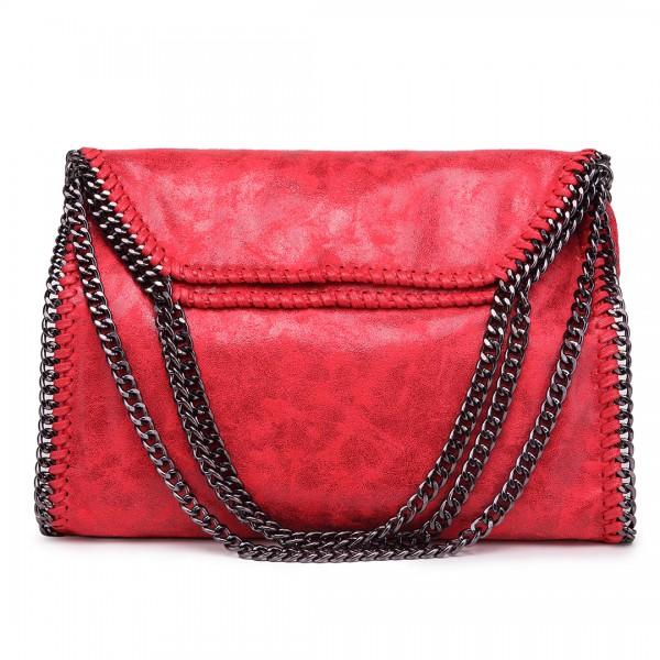 S1760 - Miss Lulu Metallic Effect Chain Tote Bag - Red