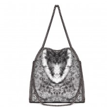 S1760 - Miss Lulu Metallic Effect Chain Tote Bag - Silver
