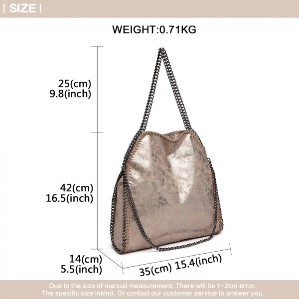 S1760 - Miss Lulu Metallic Effect Chain Tote Bag - Taupe