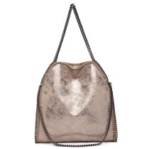 S1760-MISS LULU METALLIC EFFECT LEATHER CHAIN AROUND HANDBAG SHOULDER BAG TAUPE