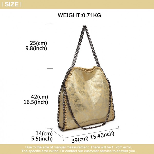 S1760 - Miss Lulu Metallic Effect Chain Tote Bag - Yellow