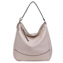 S1761 SAC - Taille moyenne Miss Lulu Similicuir Slouch Hobo Shoulder Tote Bag Beige