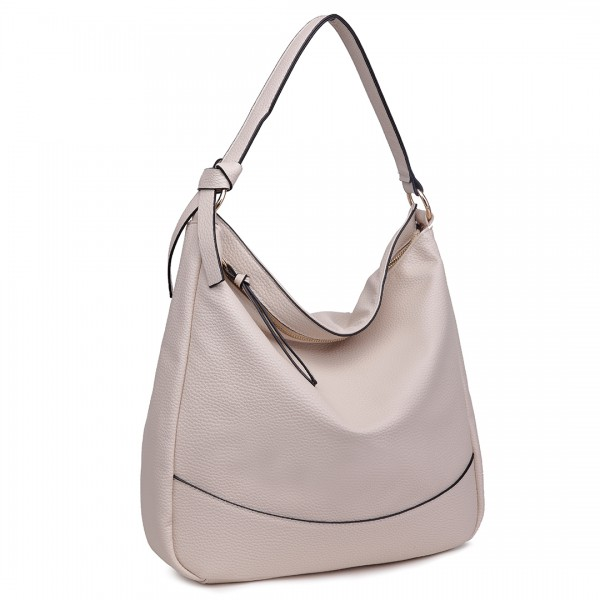 S1761 BG - Midium Size Miss Lulu Leather Look Slouch Hobo Shoulder Tote Bag Beige