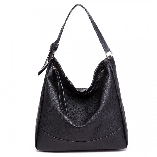 S1761 BK - Midium Size Miss Lulu Leather Look Slouch Hobo Shoulder Tote Bag Black