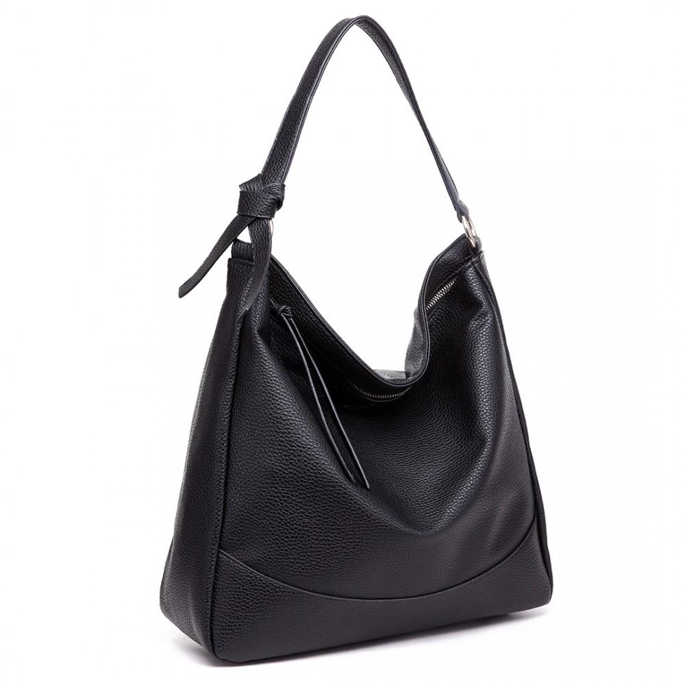 s1761 bk midium size miss lulu leather look slouch hobo shoulder tote bag black. Black Bedroom Furniture Sets. Home Design Ideas
