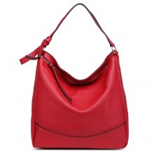 S1761 RD - Midium Size Miss Lulu Leather Look Slouch Hobo Shoulder Tote Bag Red