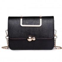 S1762 BK - Miss Lulu Leather Style Small Cross Body Satchel Black