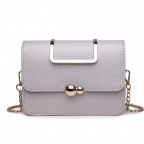 S1762 GY - Miss Lulu Leather Style Small Cross Body Satchel Grey