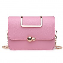 S1762 PK - Miss Lulu Leather Style Small Cross Body Satchel Pink