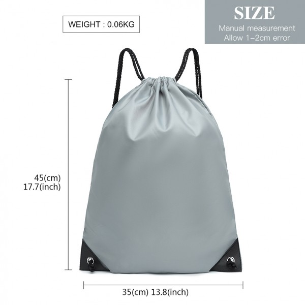 S2020 - Kono Polyester Drawstring Backpack - Grey
