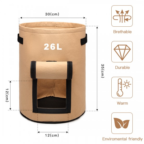 S2037 - Kono 7 Gallon Garden Vegetable Grow Bag - Beige