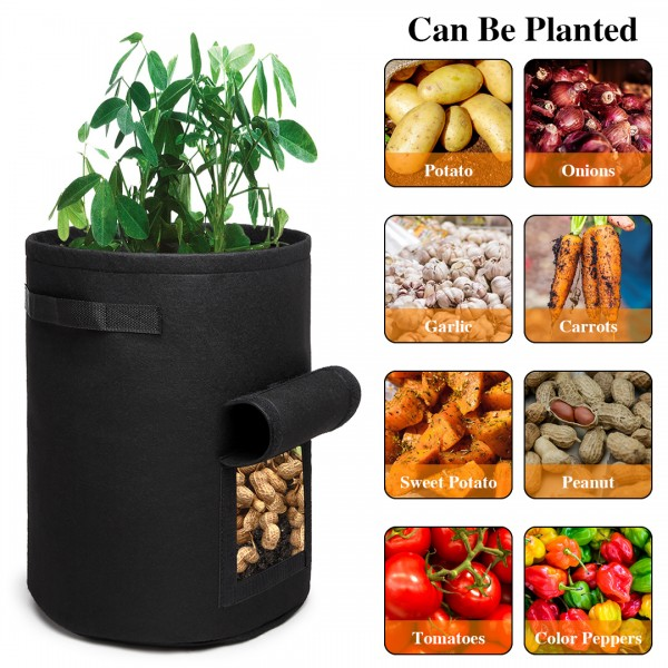 S2037 - Kono 7 Gallon Garden Vegetable Grow Bag - Black