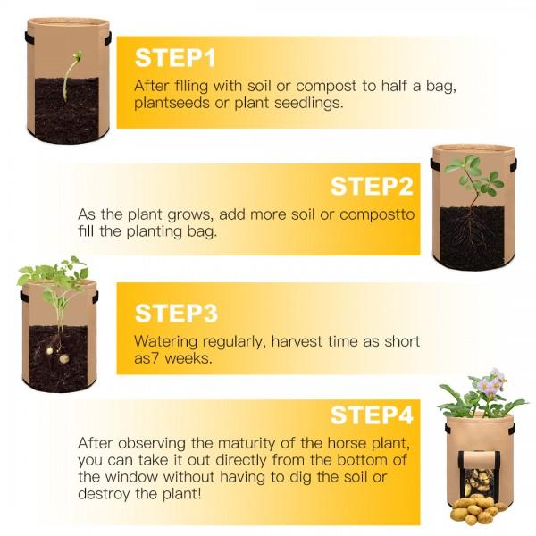 S2038 - Kono 10 galonów Torba do uprawy warzyw ogrodowych - Beżowy