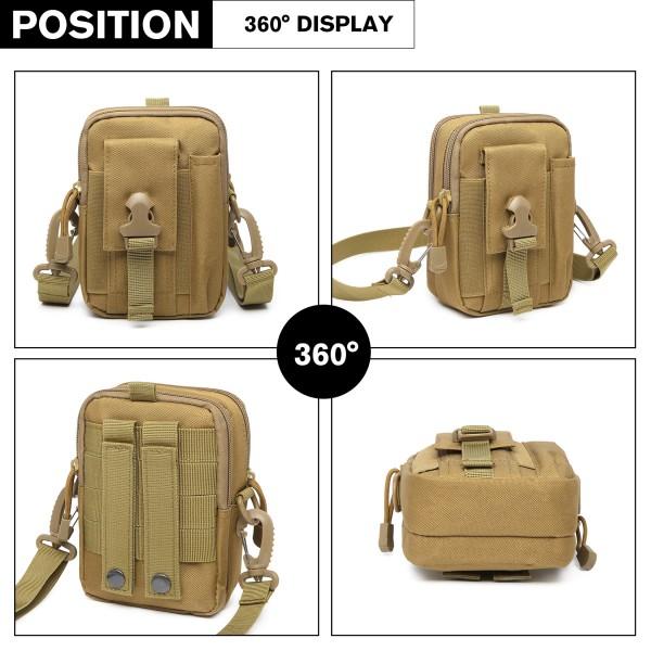 S2053 - Kono Casual Small Canvas Cross Body Bag - Khaki