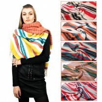 S6415 - Ladies Winter Soft Warm Wrap Nueva y hermosa bufanda del mantón a rayas