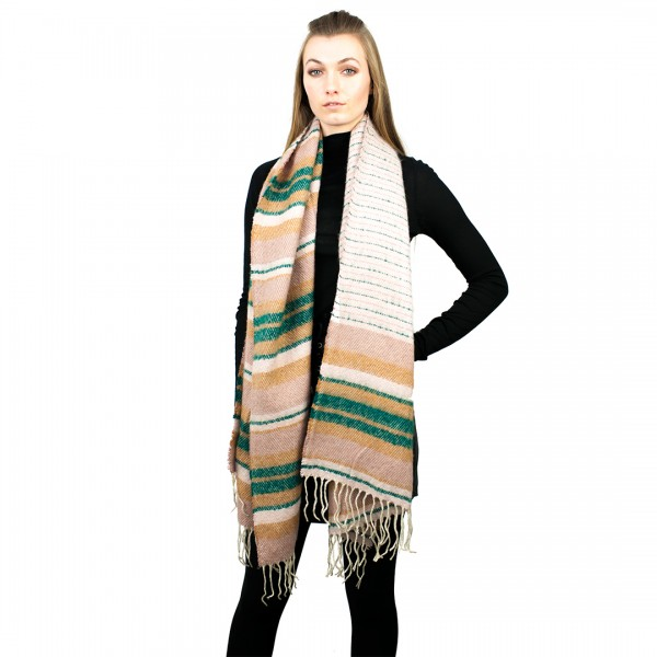 S6415 - Ladies Winter Soft Warm Wrap  New Beautiful Stripe Shawl Scarf