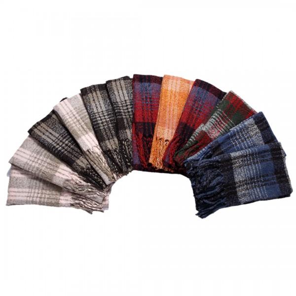 S6422 set- Women Stylish Soft Warm Wrap Check Printed Tassel Shawl Scarf 12 pieces