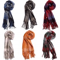 S6422 set- Women Stylish Soft Warm Wrap Check Printed Tassel Shawl Scarf 12 pieces