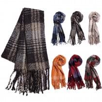 S6422 - Bufanda con estampado de borlas y bufanda con estampado de cuadros y estampado de abrigo de mujer 1 pieza