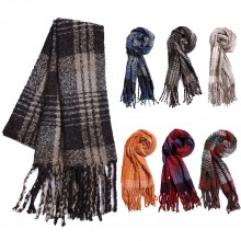 S6422 - Women Stylish Soft Warm Wrap Check Printed Tassel Shawl Scarf 1 piece