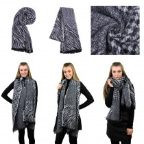 S6423 set - Women Stylish Soft Warm Wrap check with Stripe Print Shawl Scarf Grey 12 pieces