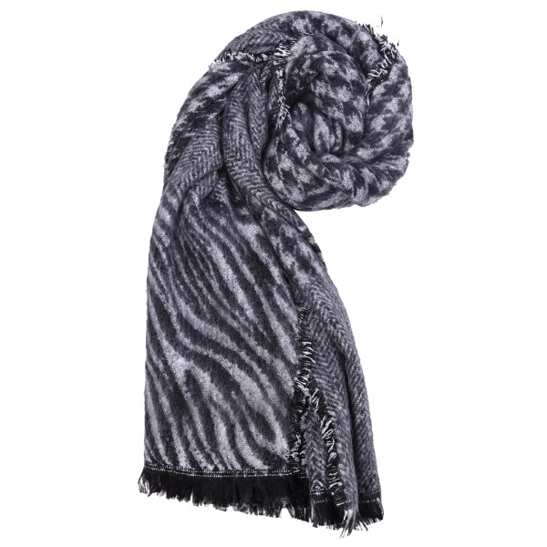 S6423 GY - Women Stylish Soft Warm Wrap check with Stripe Print Shawl Scarf Grey