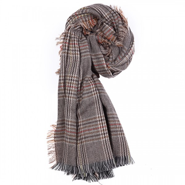 S6425 set - Women Stylish Soft Warm Wrap check  Print Shawl Scarf Brown 12 pieces