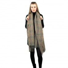 S6425 - Women Stylish Soft Warm Wrap check  Print Shawl Scarf Brown 1 piece