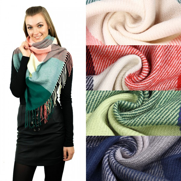 S6426 - Women Stylish Soft Warm Wrap check  Print Shawl Scarf 1 pieces
