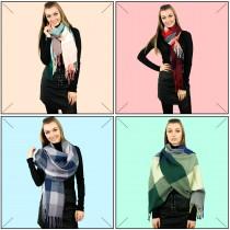 S6426 set - Mujeres elegante abrigo cálido abrigo de impresión Imprimir Chal Bufanda 12 piezas