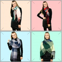 S6426 set - Women Stylish Soft Warm Wrap check  Print Shawl Scarf 12 pieces