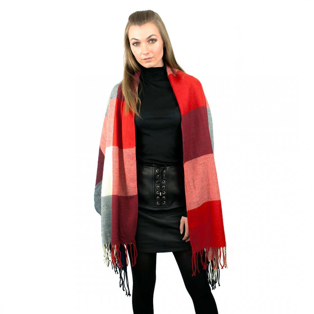 s6426 stylish soft warm wrap check print shawl