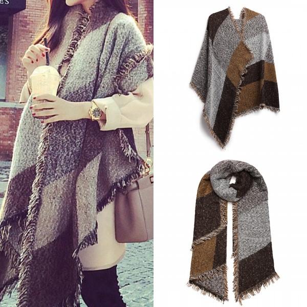 S6427-Women Ladies Fashion Plaid Scarf Blanket Winter Warm Wrap Shawl Coffee