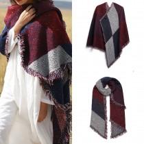 S6427 - Manta de bufanda a cuadros de moda para mujer, mantón abrigado de invierno - Rojo