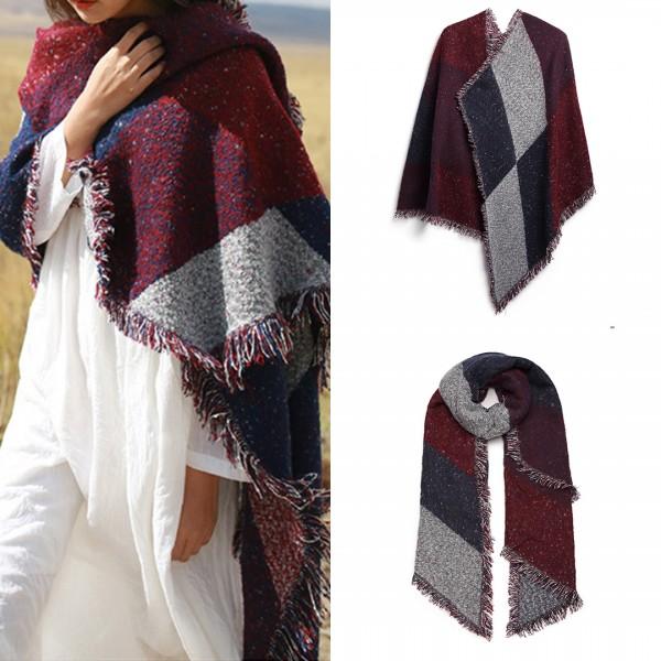 S6427-Women Ladies Fashion Plaid Scarf Blanket Winter Warm Wrap Shawl Red