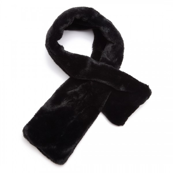 S6428 - Stylish Faux Fur Collar Warm Plush Scarf - Black
