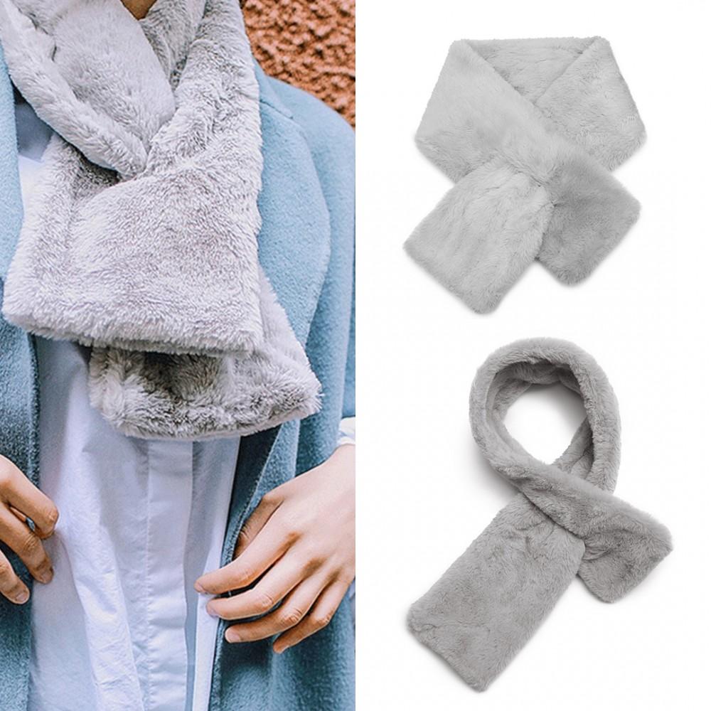 S6428-femmes dames élégant col en fausse fourrure écharpe en peluche chaude  châle gris 4aa80453e95
