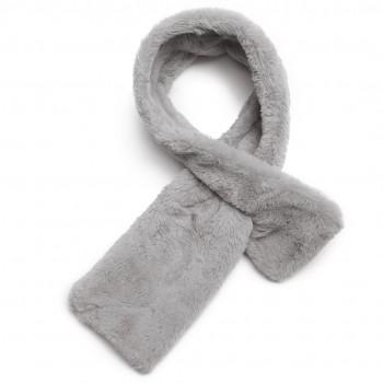 S6428-Women Ladies Stylish Faux Fur Collar Warm Plush Scarf Shawl Grey