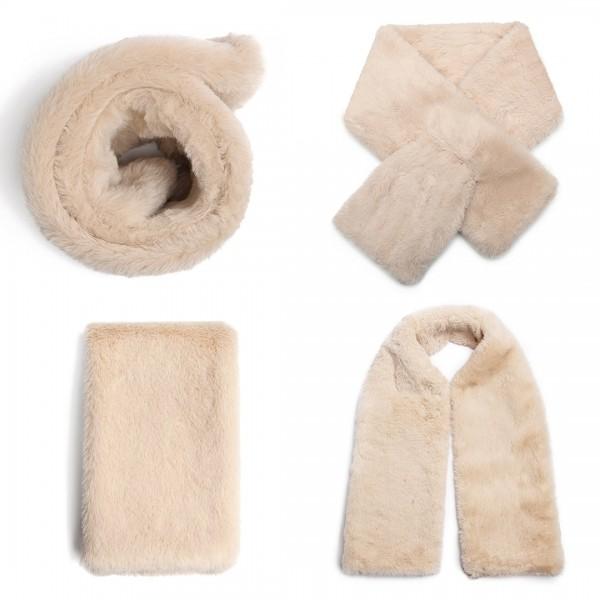 S6428 - Stylish Faux Fur Collar Warm Plush Scarf - Khaki