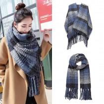 S6429-Women Ladies Stylish Soft Warm Warp Check Print Shawl Bufanda Azul