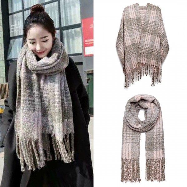 S6429 - Stylish Soft Warm Wrap Check Print Shawl Scarf - Grey