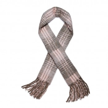 S6429-Women Ladies Stylish Soft Warm Warp Check Print Shawl Scarf Grey