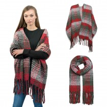 S6429-Women Ladies Stylish Soft Warm Warp Check Print Shawl Bufanda Rojo