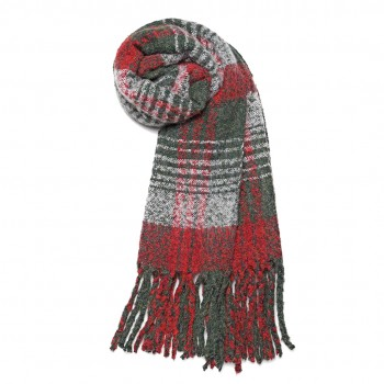 S6429-Women Ladies Stylish Soft Warm Warp Check Print Shawl Scarf Red