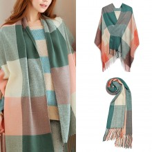S6430-Women Ladies Fashion Long Shawl Grid Tassel Winter Warm Lattice Large Scarf Green