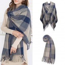 S6430-Women Ladies Fashion Long Shawl Grid Tassel Winter Warm Lattice Large Scarf Grey