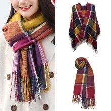 S6430-Women Ladies Fashion Long Shawl Grid Tassel Winter Warm Lattice Large Scarf Purple