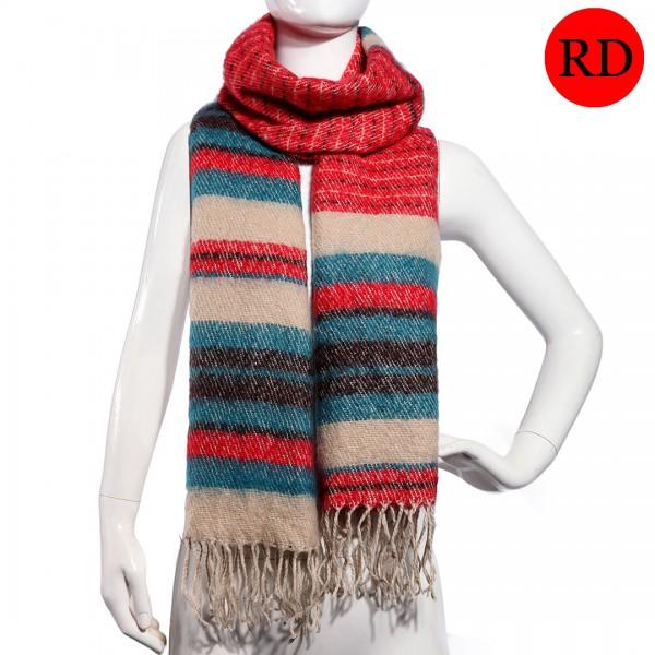 S6415 - Ladies Winter Soft Warm Wrap New Beautiful Stripe Shawl Scarf